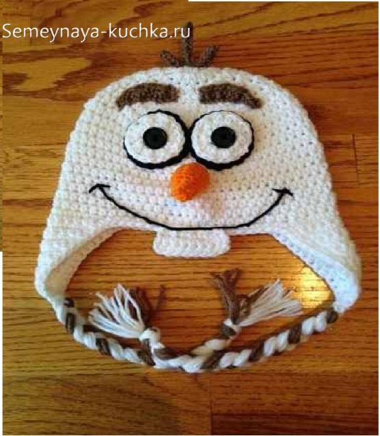 шапка крючком снеговик олаф