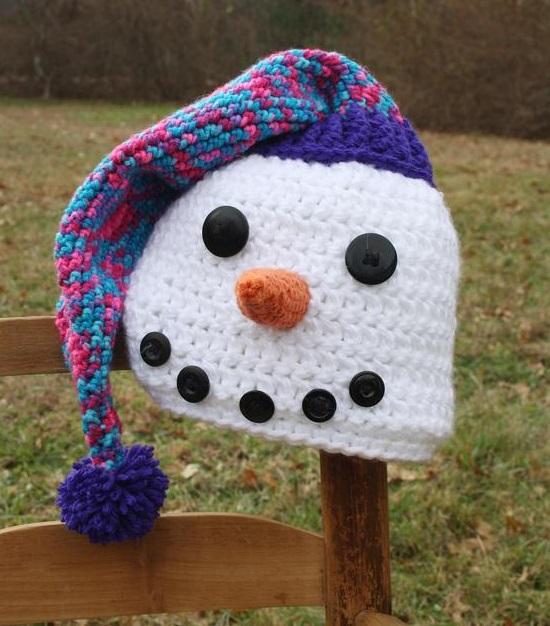 маленькая шапка снеговик для детей связать