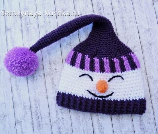 детская шапка снеговик для детей связать самим