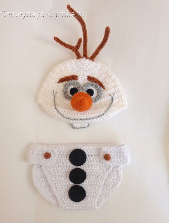 шапка для малышей снеговик олаф крючком связать