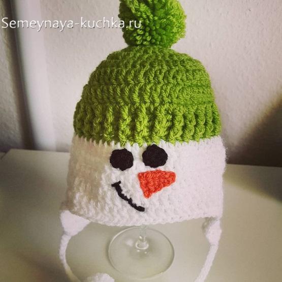 шапка снеговик вяжем крючком своими руками