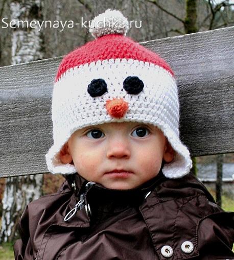 шапка снеговик крючком для детей