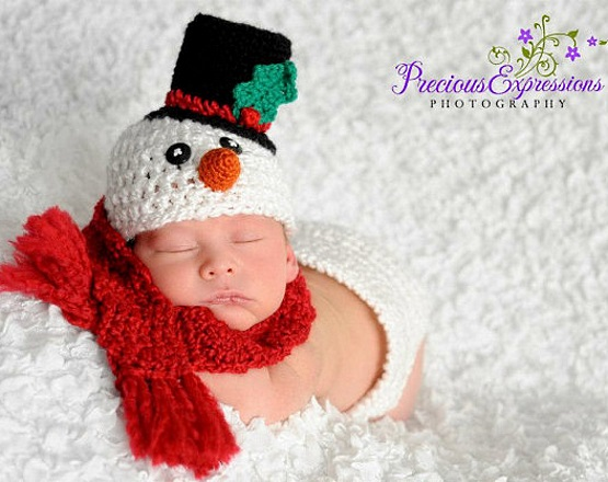 шапка снеговичок для маленьких