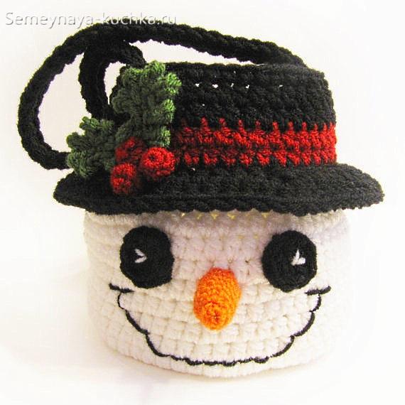 шапка снеговик красивая крючком