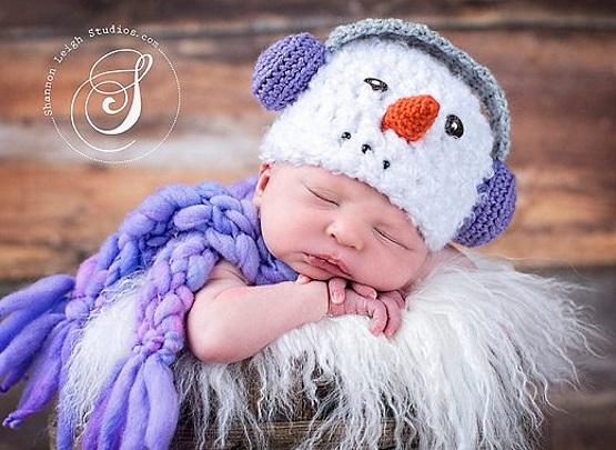 шапка снеговик с наушниками крючком вяжем