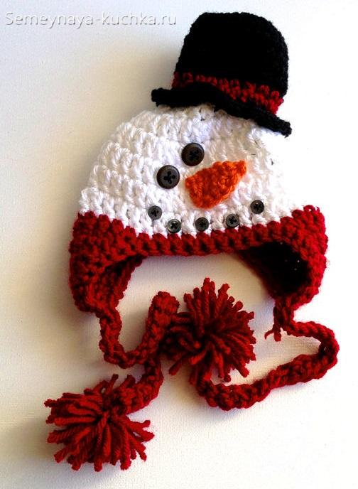шапка снеговик для детей