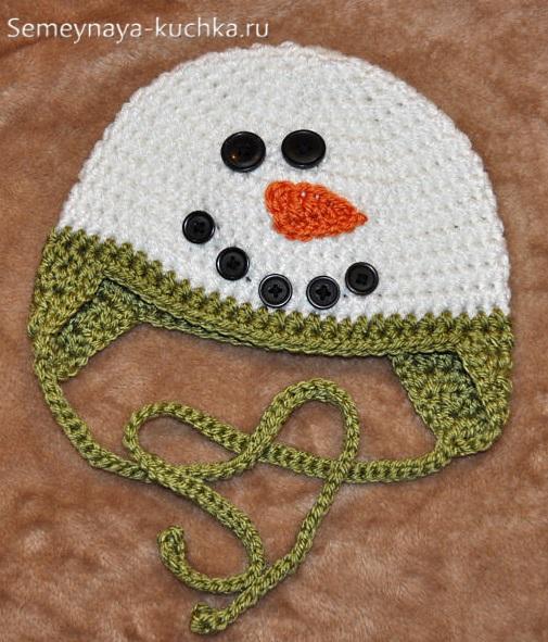 шапка снеговик крючком как связать