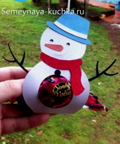 поделка снеговик из бумаги для детей с конфеткой