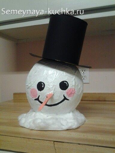 снеговик из бумаги на воздушном шаре