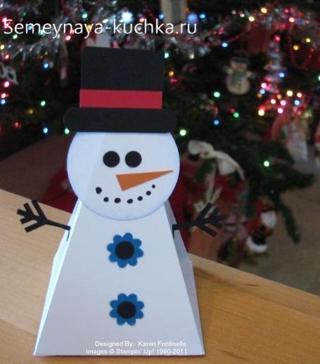 снеговик из бумаги поделка для детей
