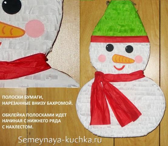 снеговик из бумаги пушистая аппликация с бахромой