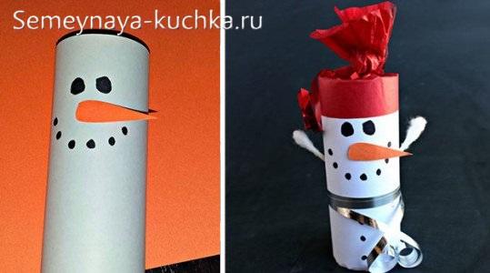 снеговики из рулончиков от бумаги