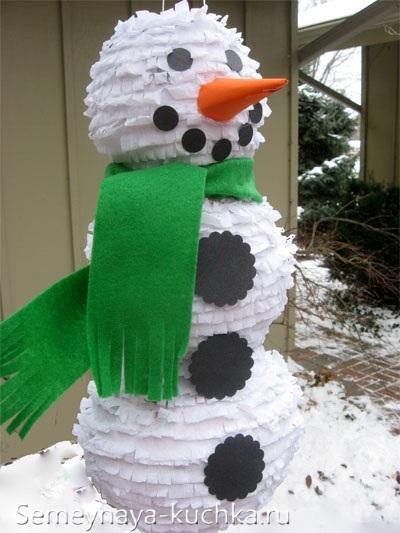 снеговик из бумаги и воздушного шара