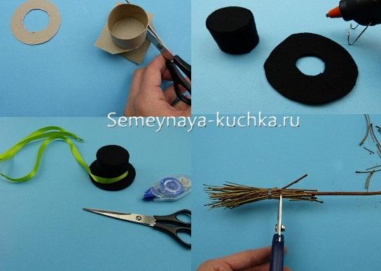 как сделать шляпу снеговику