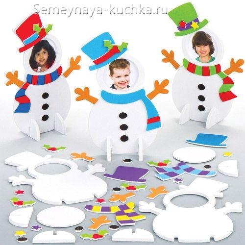 поделка из бумаги снеговик