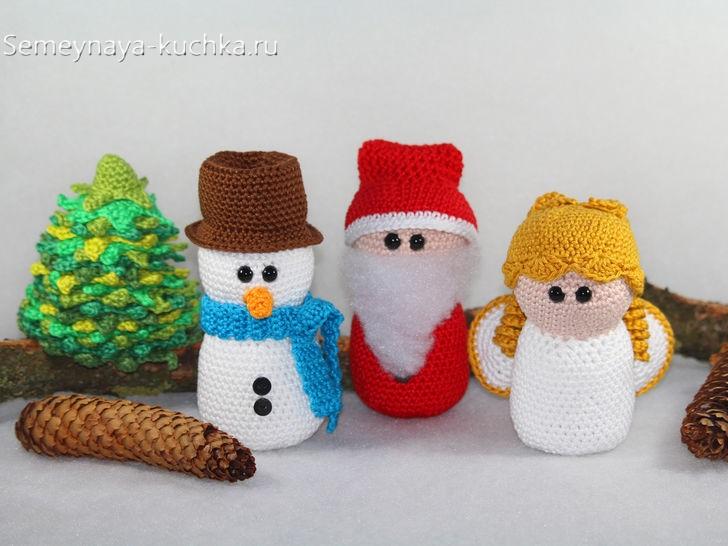 новогодние поделки крючком снеговик дед мороз ангел