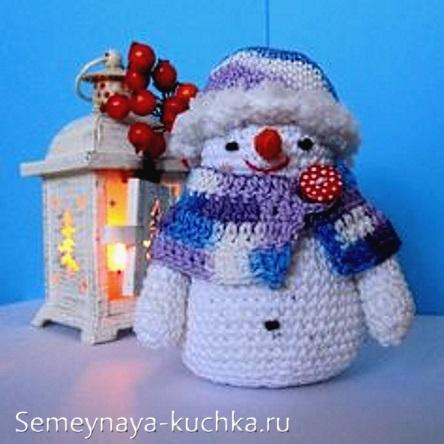 снеговик крючком вязаный