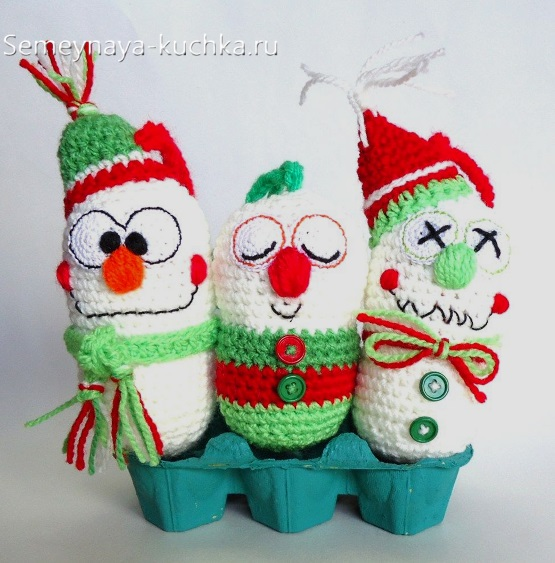 овальные снеговики крючком