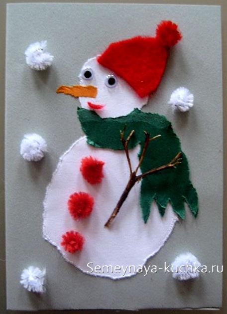 аппликация обрывная снеговик