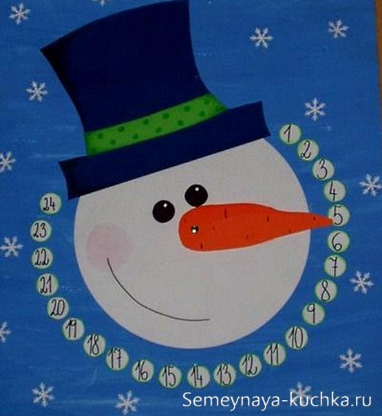 аппликация снеговик календарь