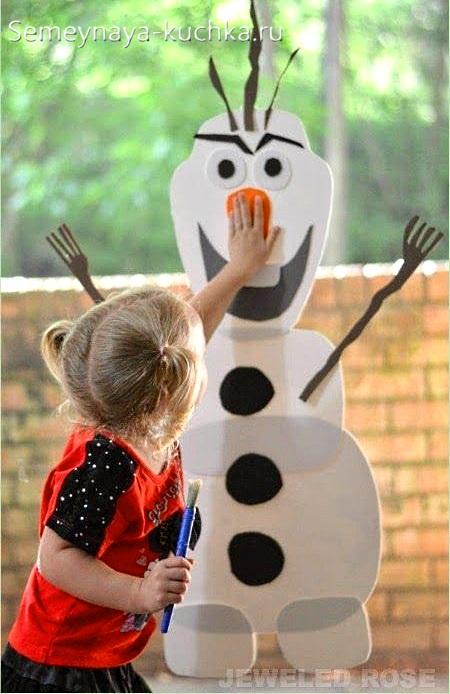 аппликация снеговик на окно детский олаф