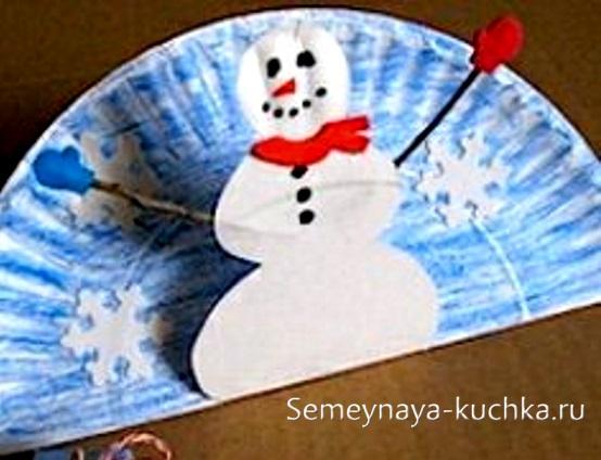 детская поделка снеговик из тарелки