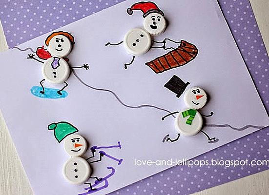 поделка детская снеговик из крышек