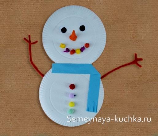 снеговик детский из ватных дисков