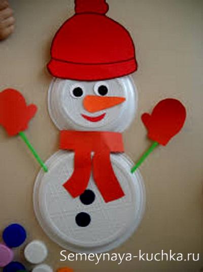 поделка детская снеговик из тарелок