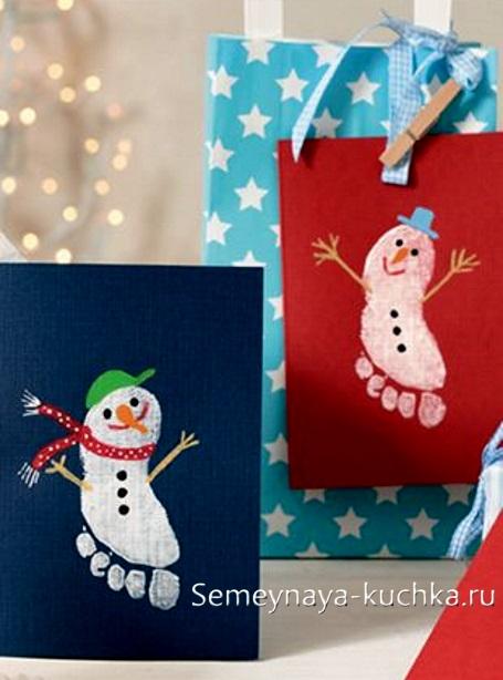рисование снеговик детское красками