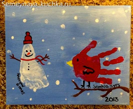 поделка снеговик красками ладошка