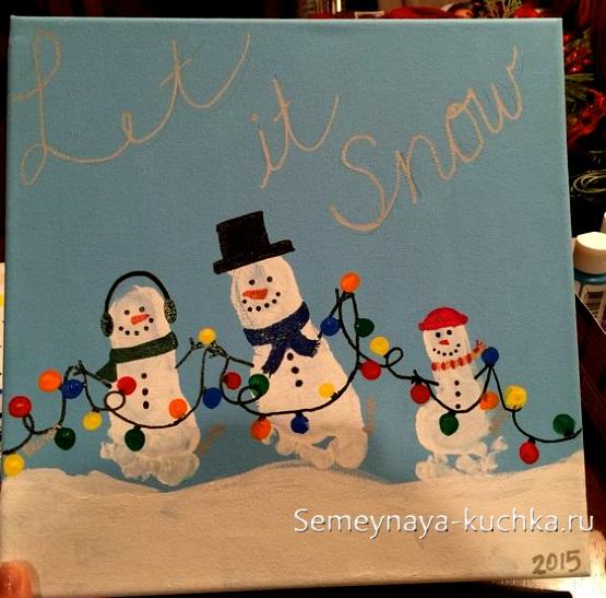 детский рисунок снеговик