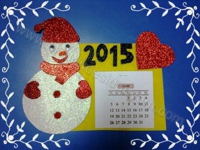 поделка снеговик на календарь детский