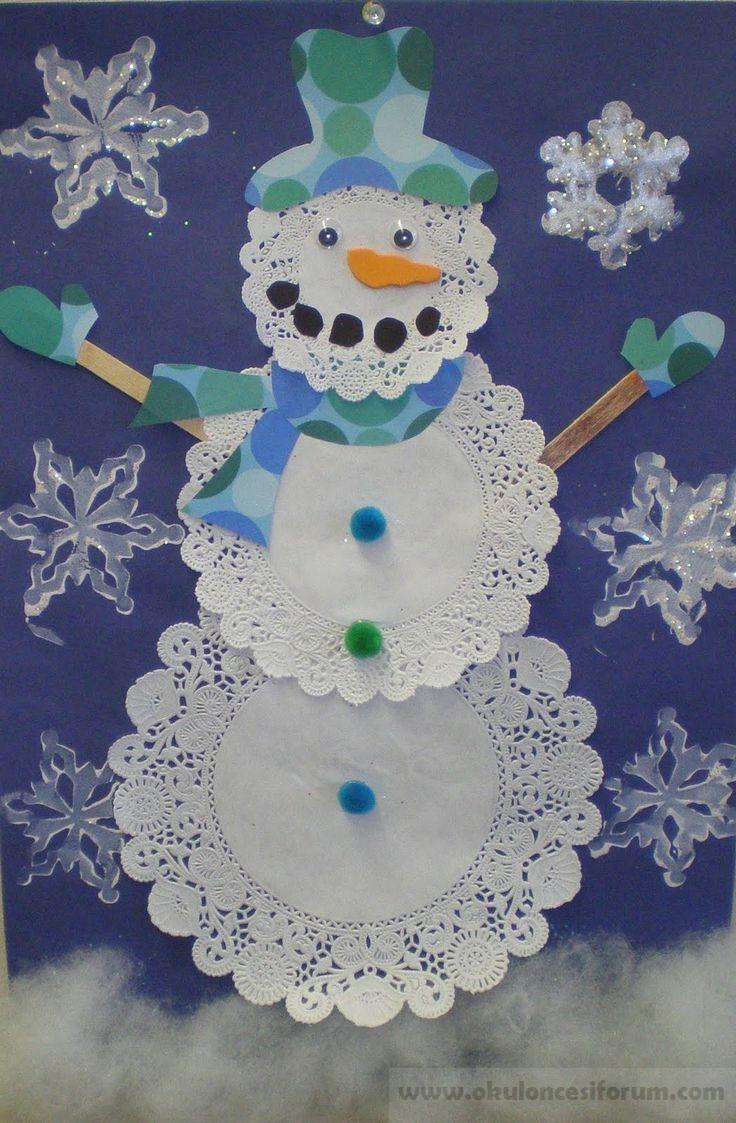 детский снеговик из салфеток поделка