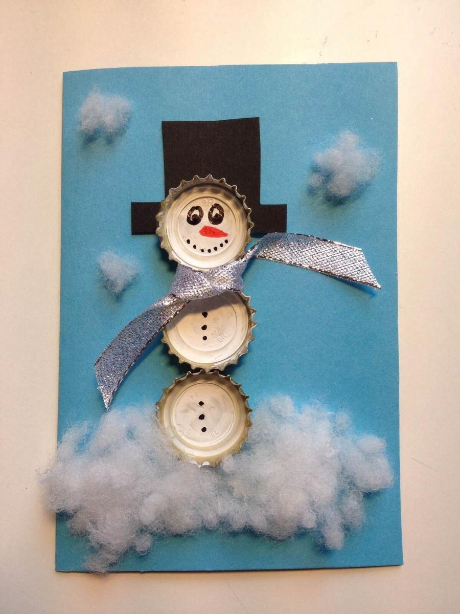 снеговик из крышек поделка