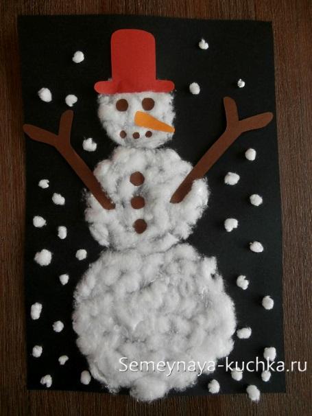 детский снеговик аппликация из ваты