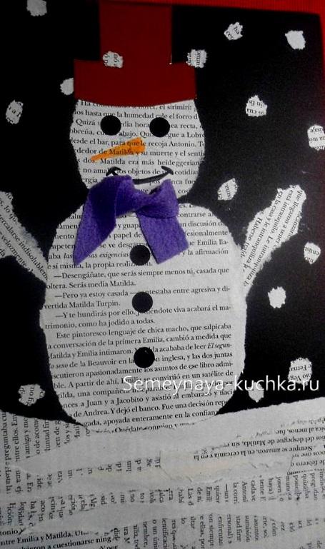 аппликация снеговик из газеты