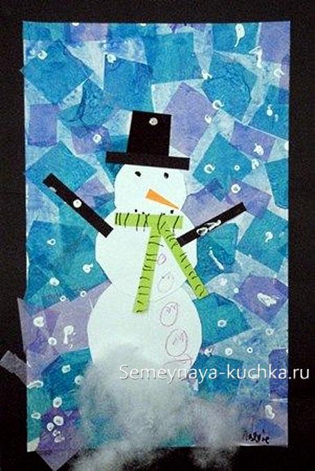 аппликация снеговик из креповой бумаги