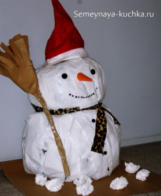 снеговик из комка газеты мастер класс