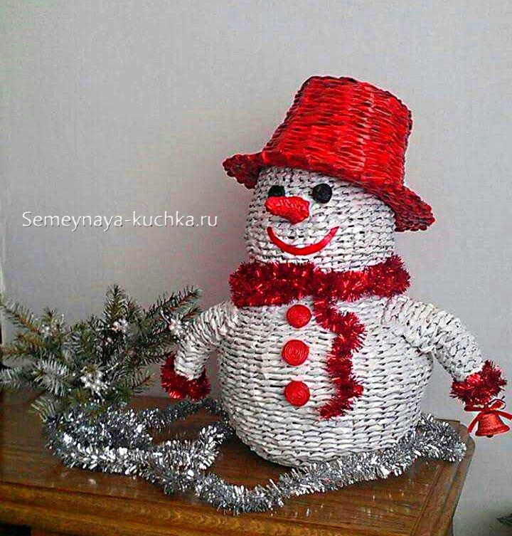 как сплести снеговика из газеты