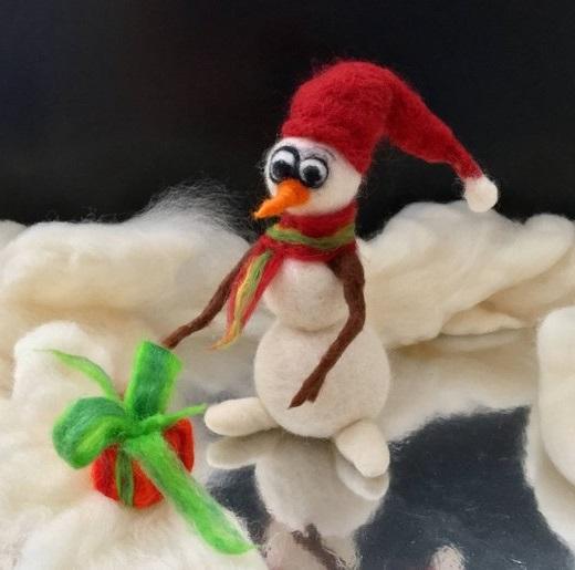 как сделать снеговика из шерсти