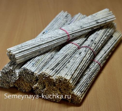 газетные трубочки для плетения