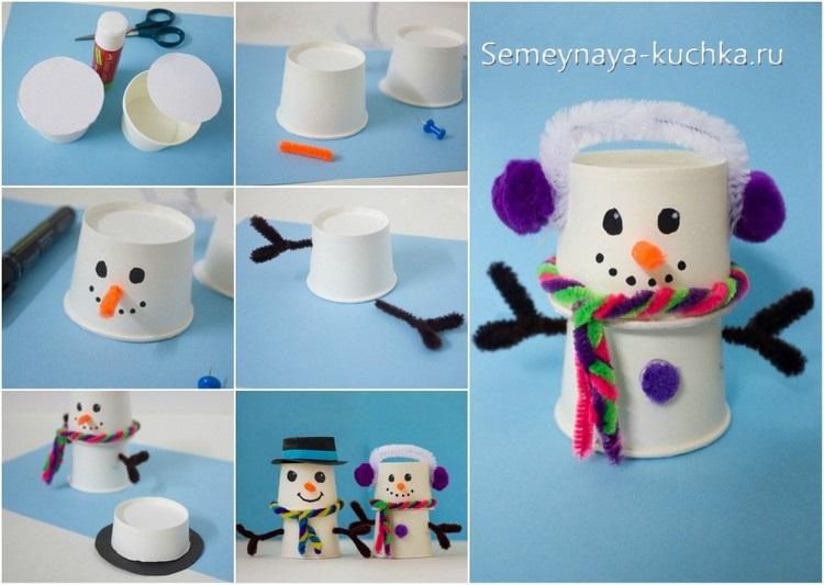 как сделать снеговика из стаканчиков от йогурта