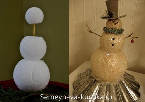 снеговик из пенопластовых шариков
