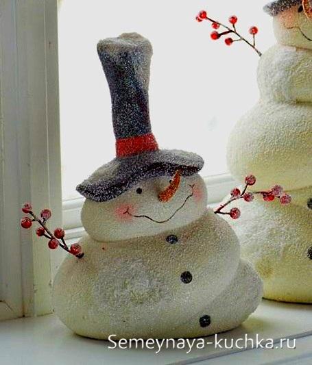 как сделать снеговика из теста