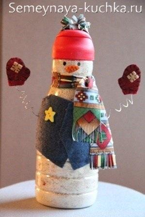 как сделать снеговика из бутылки от молока
