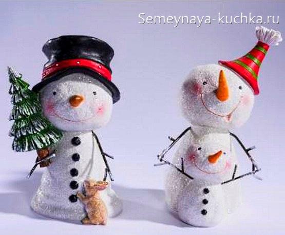 снеговик из горшков цветочных