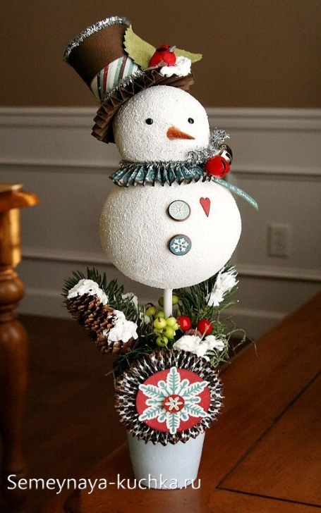 как сделать снеговика из пенопластовых шаров