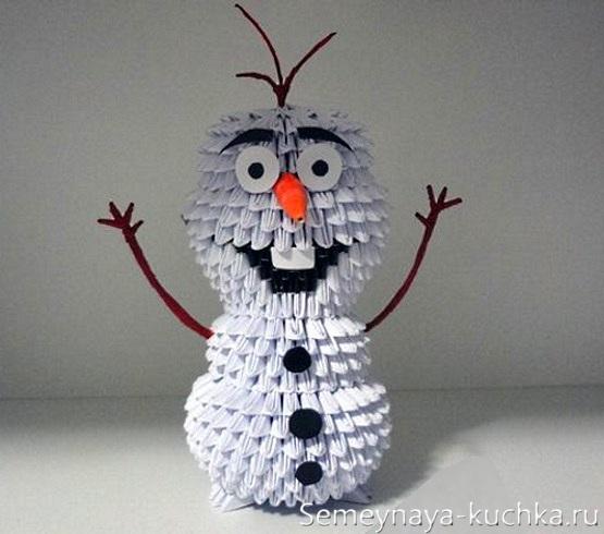 снеговик из модульного оригами бумажные модули