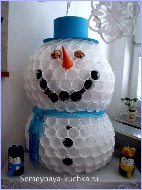 как сделать снеговика из стаканчиков